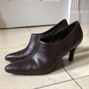 Espresso Brown Leather Heels